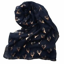 Women's Scarves Ladies glitter Scarf Rose Gold Metallic Stag Xmas Girl Snood