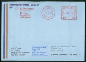 MayfairStamps 1990 25 Years Lufthansa to Frankfurt Germany Boeing 747 Singapore