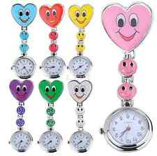 Heart Smile Face Nurse Quartz Pocket Clip On Fob Watch - Choose You Colour