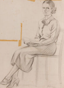 Jack Green - 1962 Graphite Drawing, Girl with a Book