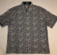 Bugatchi Uomo Shaped Fit S/S Button Down Shirt Blue, White Men's Large NICE
