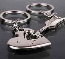 1 Pair Sweet Love Heart Key Ring Keyfob Couples Romantic Keychain Gift