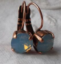 8mm Cup Chain SOFT BLUE/ANTIQUE COPPER LEVERBACK EARRINGS w/Swarovski Crystals