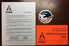 STS - 2 SPACE SHUTTLE COLUMBIA ORANGE LAUNCH VEHICLE PASS CAUSEWAY & INFO LETTER