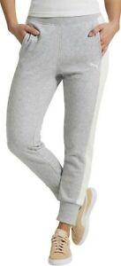 Puma Womens Medium French Terry Jogger Pants White Stripe Heather Grey