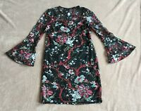 M&S Collection Size 8 Ladies Black Lace Dress With Coloured Floral Print, BNWT
