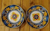 Cynthia Rowley Blue Yellow Floral Tuscan Style Melamine Cereal Bowls Set Of 2