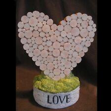 Rustic Heart Wedding Centerpiece Resin Wood Look