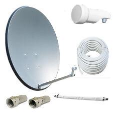 80cm Dunkel SAT Antenne Satellitenschüssel Digital + LNB+15m Kabel+Durchführung