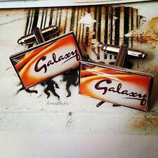 Unique! GALAXY BAR CUFFLINKS men MiLK CHOCOLATE sweet tooth GROOM dad GIFT cool