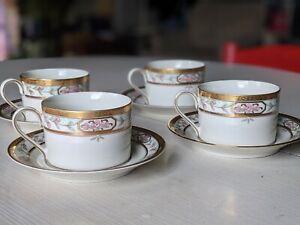 8pc MIKASA China MERRICK L5517 Coffee Mug Teacup Saucer - Floral - Gold Trim