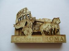 MAGNET ROME ITALIAN COLOSSEUM CHARIOTS WOOD COLLECTIBLE 3 x 2.5 x .5 INCHES