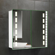 Double Door Mirror LED Lights Bathroom Cabinet Bluetooth IR Sensor Shaver Socket