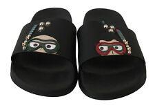 DOLCE & GABBANA Shoes Slippers Black Studs Beachwear Slides EU42 / US9