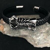 Edelstahl Leder Biker Herren Damen Kette Armband Armkette Scorpion Skorpion