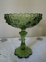 """Vintage Fenton Green Cabbage Rose Stemmed Compote Bowl/Candy Dish 7 3/4"""" x 6"""""""