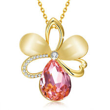 18K Yellow Gold Filled Pink Zirconia Crystal Opal Flower Pendant Necklace Jewelr