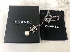 Authentic Brand New Chanel CC Logo Silver Pearl Necklace