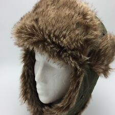 Green Trapper Cap Faux Fur Bomber Aviator Mens Winter Hat Flaps Concept One