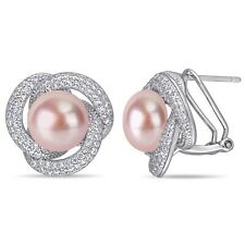 Haylee Jewels Sterling Silver Pink Cultured FW Pearl and CZ Swirl Halo Earrings