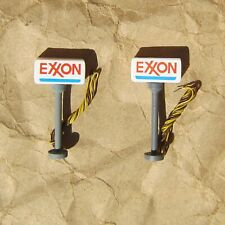 NEW ~ 2 LIGHTED EXXON GAS SIGNS by Model Power ~ Mayhayred Trains N Scale Lot