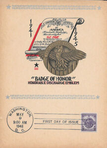 #940 First Day Souvenir Card 3c Badge of Honor w/FDC