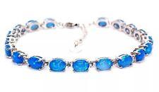 Silver Blue Fire Opal Oval Cut 24.02ct Tennis Bracelet (925) Free Gift Box