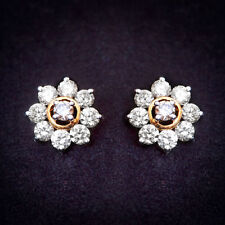 Pave 2.17 Cts Natural Diamonds Stud Earrings In Solid Certified 14K Yellow Gold