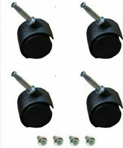 4 x Office Chair BLACK TWIN Wheels Castor Swivel Spin Trolley Casters feet