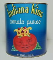 Large Old Vintage 1960s Indiana King Tomato Puree Graphic Tin Can Hobbs Indiana