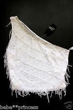 NWT bebe white fringe silver embellished one shoulder sexy dress top L large 10