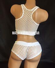 Exotic Dancer Stripper UV Glow White Net Crop Top Shorts Dancewear Set