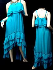 Venus teal blue solid ruffle high low spaghetti strap plus size dress 3X