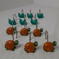 Nautical Ocean Whale Sea Turtle Dolphin Shower Curtain Holder Rings Hooks Clips