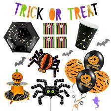 Halloween Party Deko Set Kinder Dekoration Tischdeko orange schwarz Fledermaus