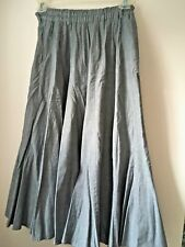 Japanese Designer Yacco Maricard 100% Cotton Pleated Skirt In Light Gray Size M