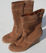 M.P.S. DIME-OB Tan Suede Leather Wedge Mid Calf Heels Boots Women's Size 8.5 US