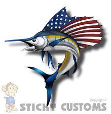 Sailfish USA American Flag Sticker Car Truck Cup Laptop Fish Boat Window Decal