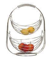 Designer Obstkorb Früchtekorb Etagere Obstschale aus Metall verchromt H 45 cm
