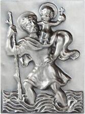 Heiliger Sankt St. Christophorus 3D Relief Schild Plakette Emblem 65 x 48 mm