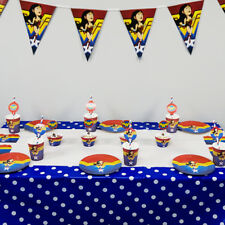 74pcs For 12 Kids Child Wonder Woman Theme Flag Banner Tableware Party Supply