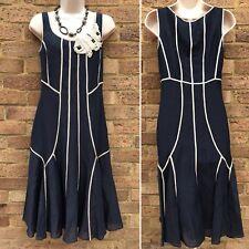 Fenn Wright Manson Dress UK 8 Navy Blue Silk Linen Rose Cluster Smart Work