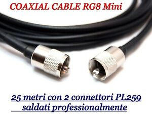 CAVO COASSIALE RG8 MINI METRI 25 INTESTATO CON CONNETTORI PL259 GOLD PIN