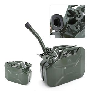 Green 10L Fuel Petrol Diesel Container High Storage Durable 0.8mm Steel Fuel Can