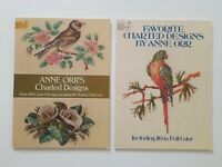 Lot Of 2 Anne Orr's Charted Design Pattern Books Bird Floral Colonial Needlework