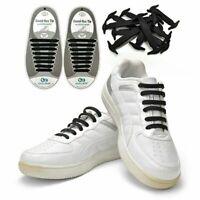 16PCS Black No-Tie Elastic Shoelaces Silicone Tieless Shoe Laces for athletic US