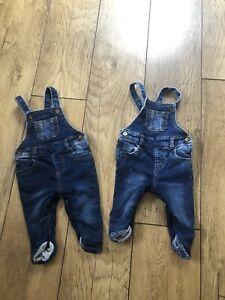 2 X F&F Baby Boys Blue Denim Dungarees Age 3-6 Months Vgc
