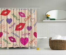 Kissing Lips Graphic Shower Curtain Loves Amour Hearts Colorful Bathroom Decor