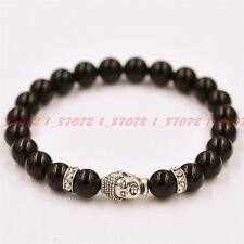 natural black agate 8 mm beads Tibet silver Buddha beads bracelet 7.5 in -zk