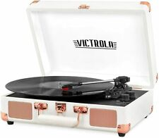 Victrola Vintage Bluetooth Portable Suitcase Record Player White Rose Gold